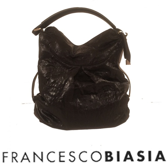 Francesco Biasia Handbags - Francesco Biasia Ellen Black Slouchy Hobo Bag